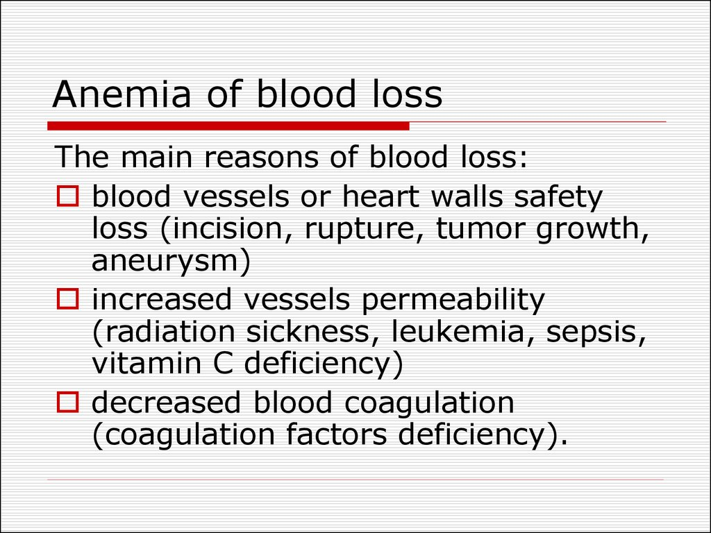 Anemia of blood loss