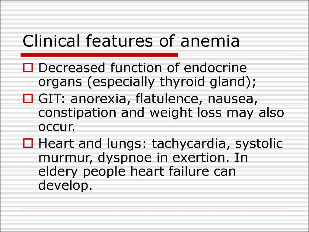 Clinical features of anemia