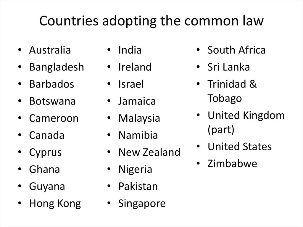 Countries adopting the common law