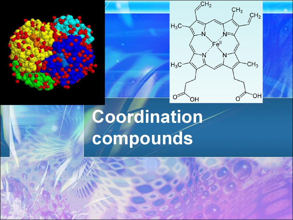 cordination compounds Examples of coordination compounds : formula: name: coor-dination # oxi-dation # 1 [co(nh 3) 6]cl 3: hexaamminecobalt (iii) chloride: 6 +3: 2 k[aucl 4] potassium.