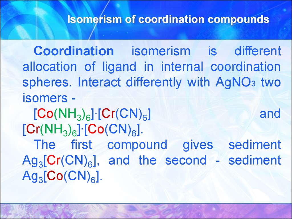 Isomerism of coordination compounds