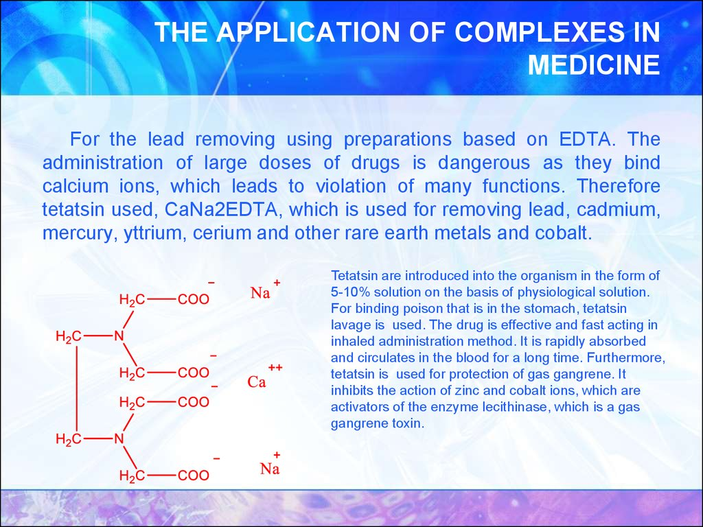 THE APPLICATION OF COMPLEXES IN MEDICINE