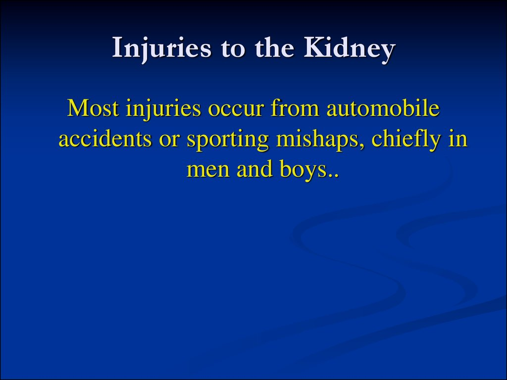Injuries to the Kidney