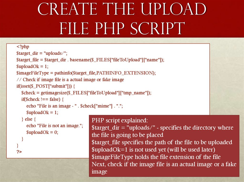 Create The Upload File PHP Script