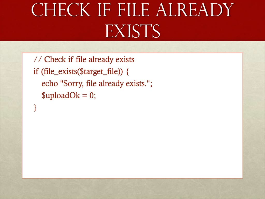 Check if File Already Exists