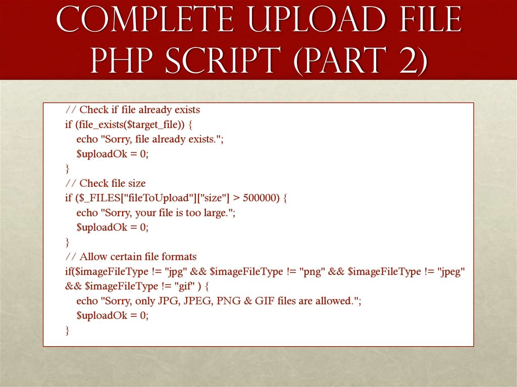 Complete Upload File PHP Script (part 2)