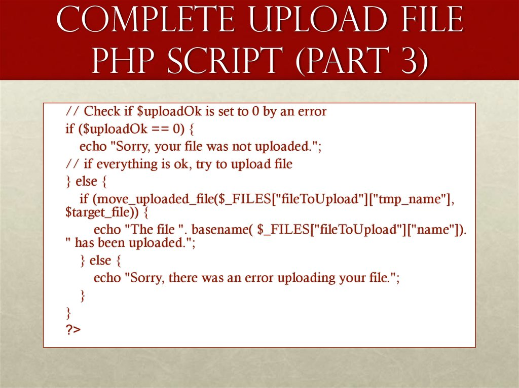 Complete Upload File PHP Script (part 3)