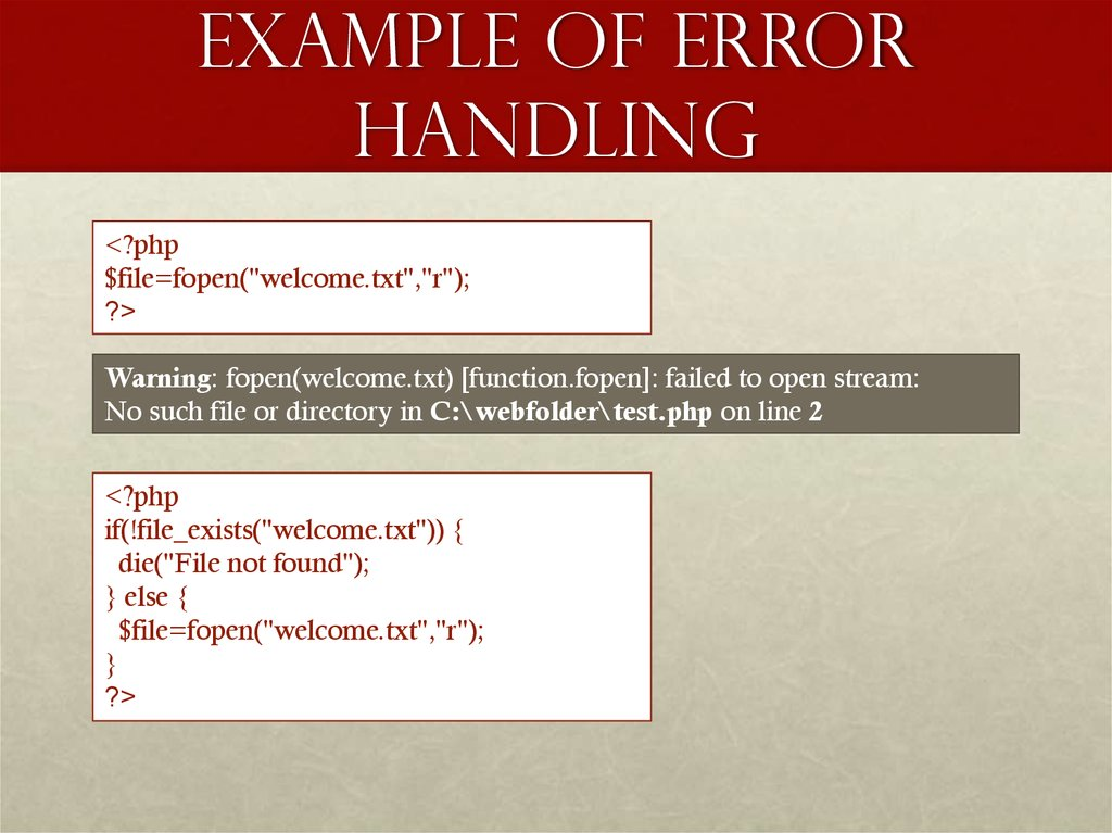 Example of Error Handling