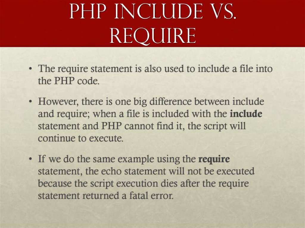 PHP include vs. require