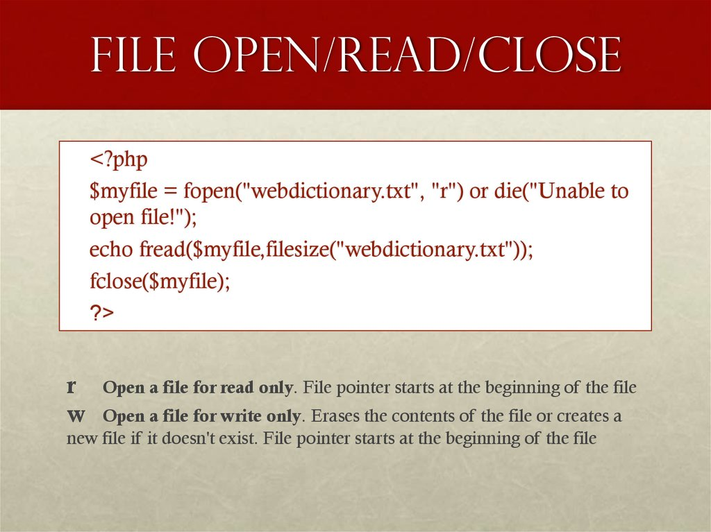 File Open/Read/Close