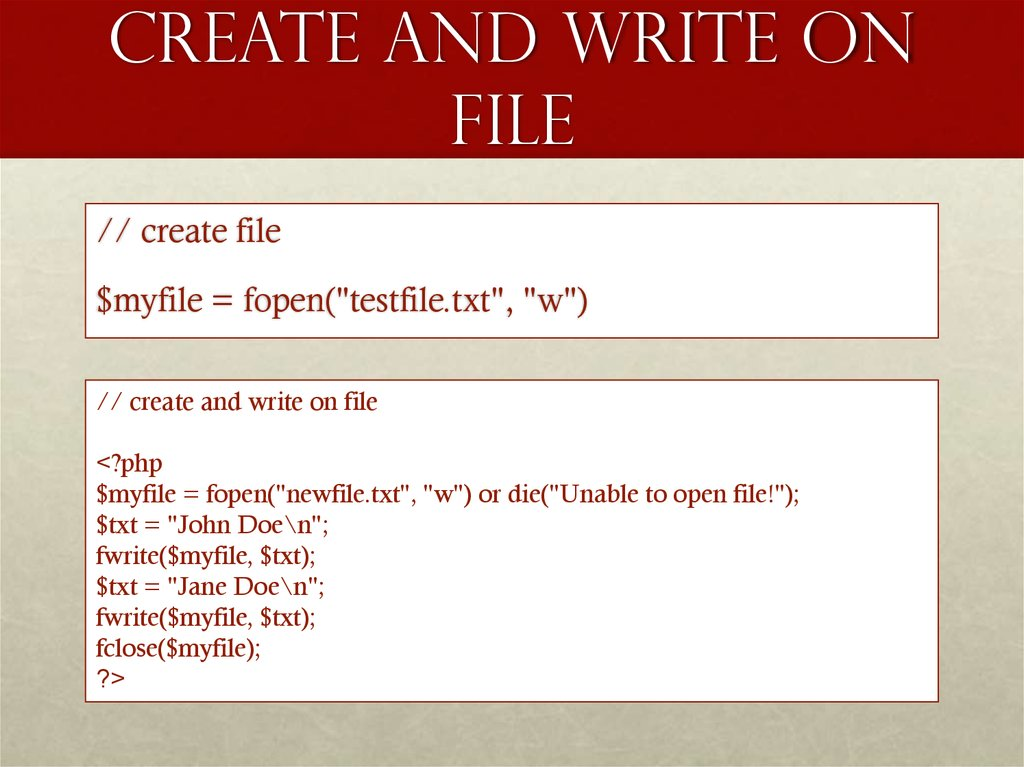 Create and write on File