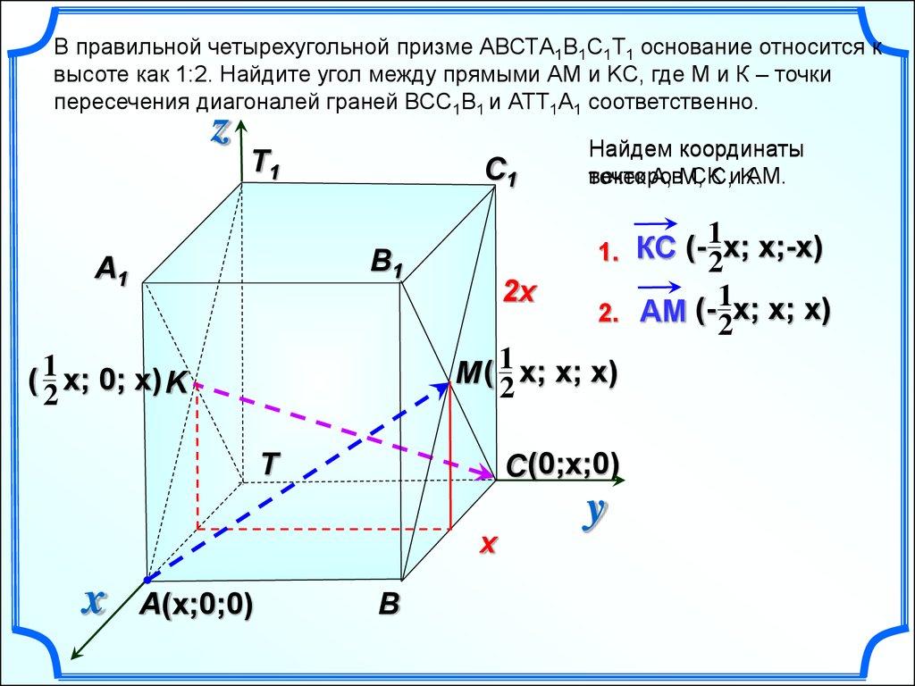 Решение задачи в правильной четырехугольной призме математика егэ решение задач по теории вероятности