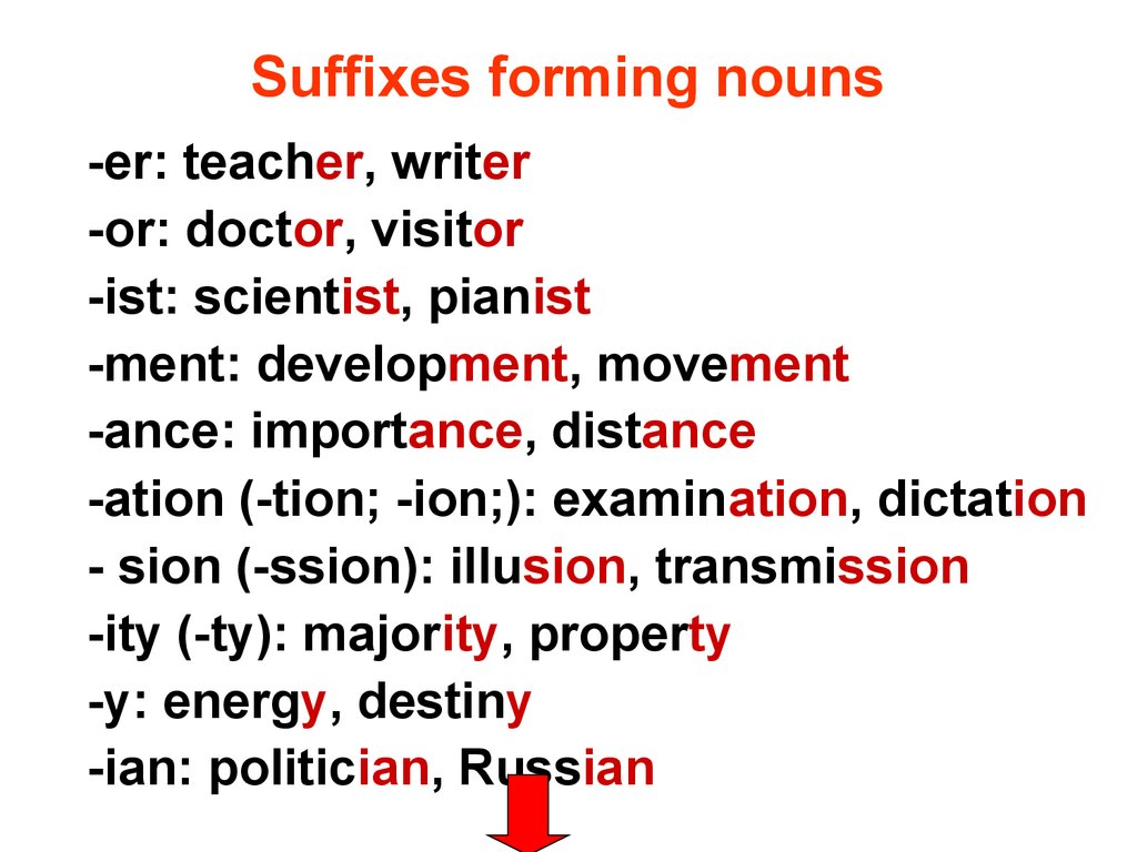 Suffixes forming nouns