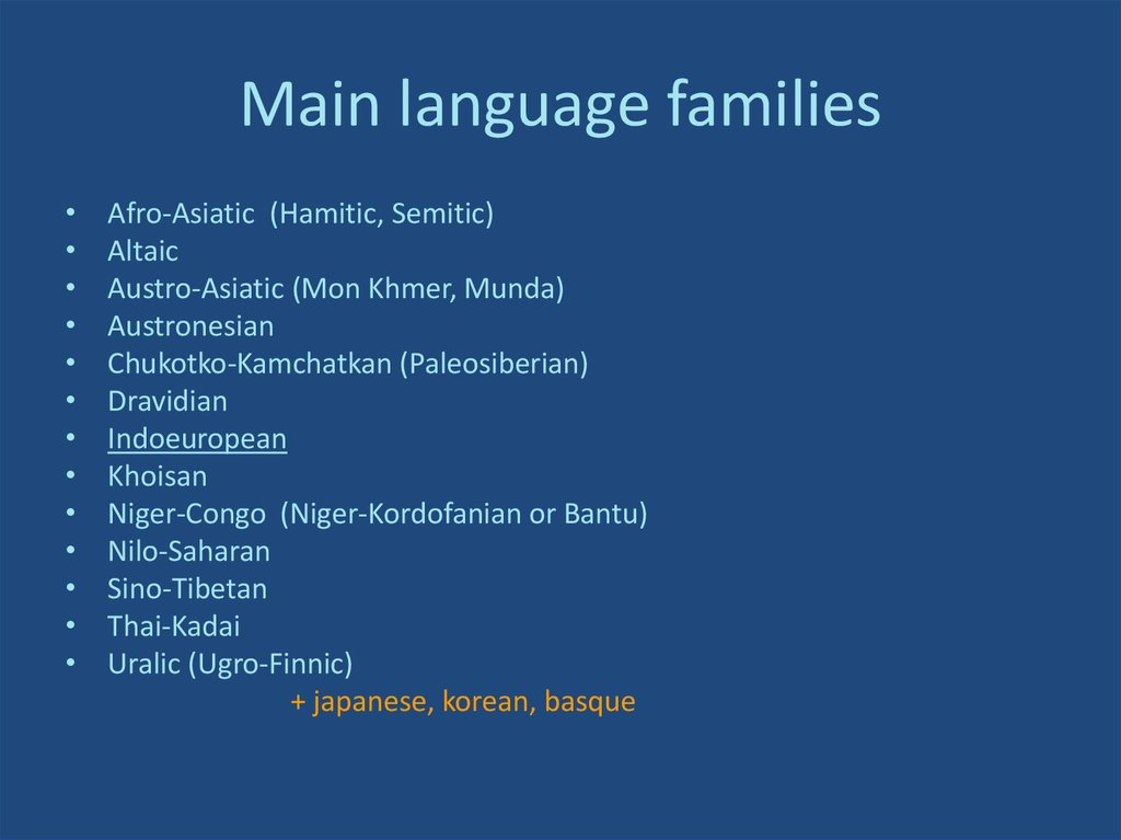 Main language families