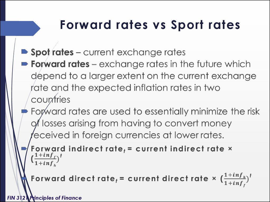 Forward rates vs Sport rates