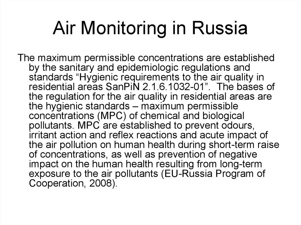 Air Monitoring in Russia