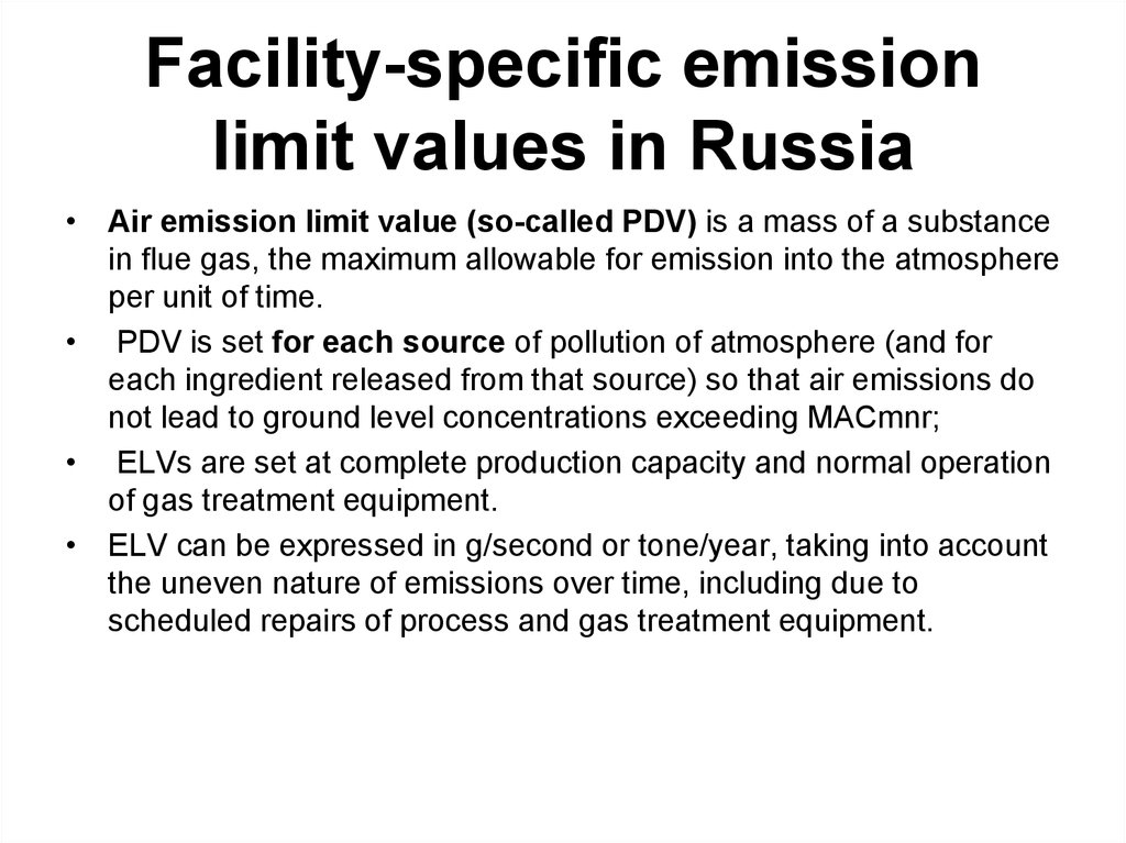Facility-specific emission limit values in Russia