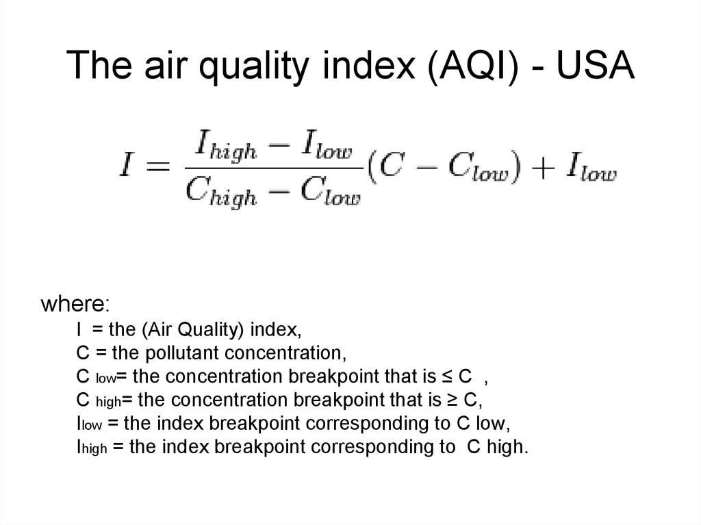 The air quality index (AQI) - USA