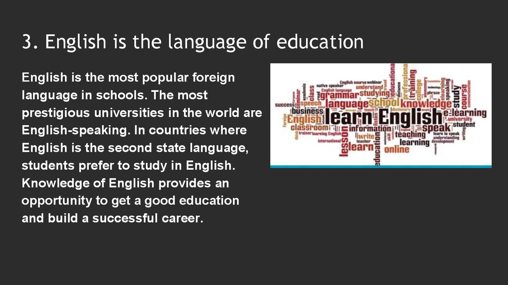 importance of english language in education essay Importance of english in education as english is becoming the de-facto business language, students need to know english to get good jobs in the industry and if they want to pursue higher education like masters of science etc then they have to learn english.