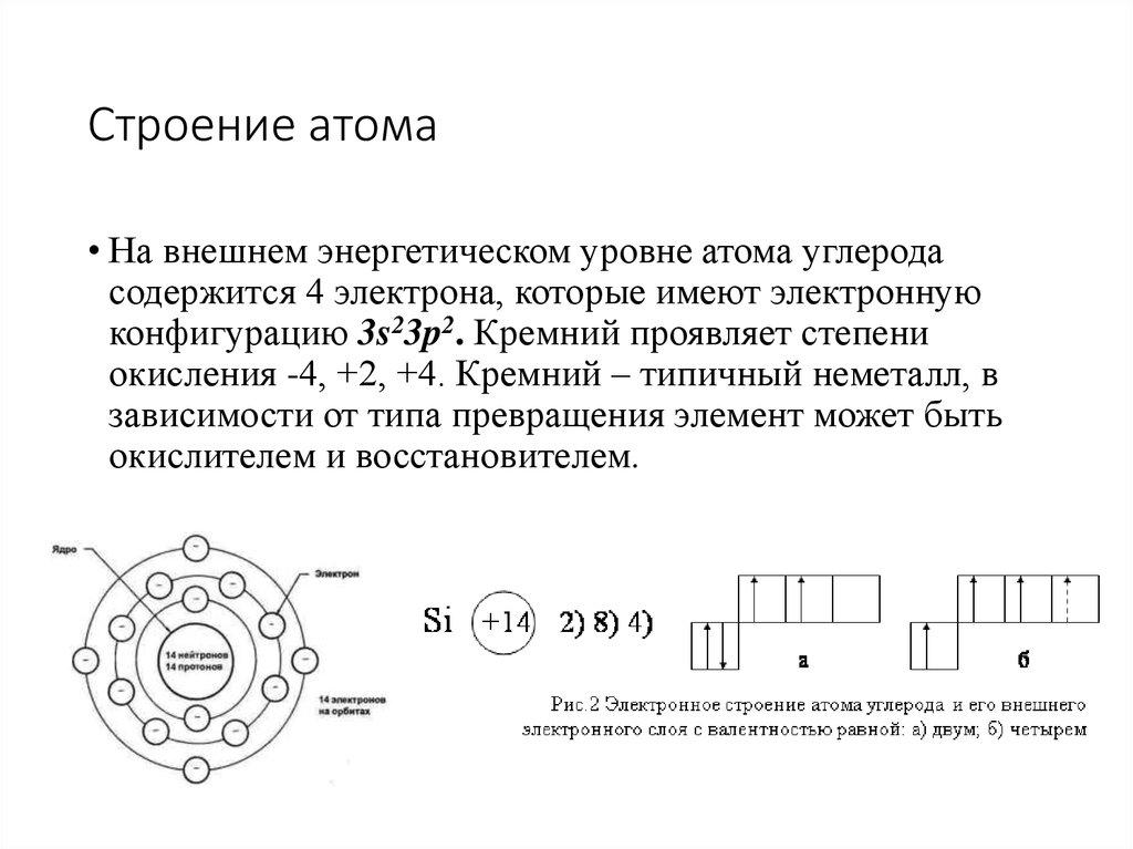 электронные уровни атома кремния кучу