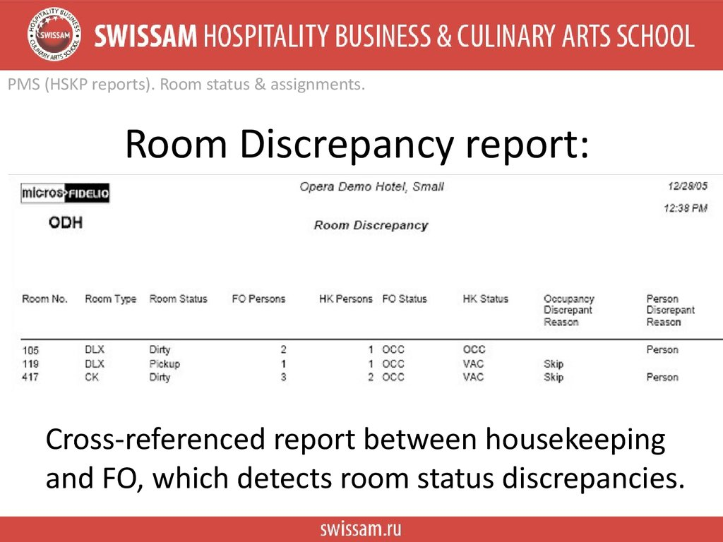Room Discrepancy report: