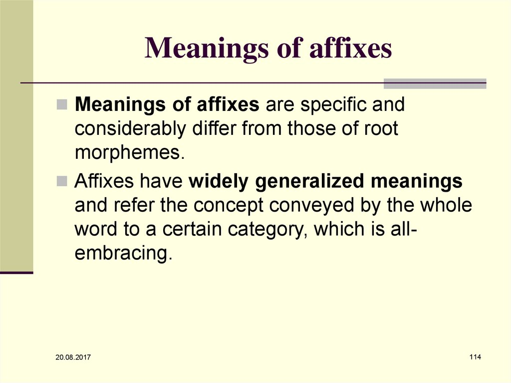 Meanings of affixes