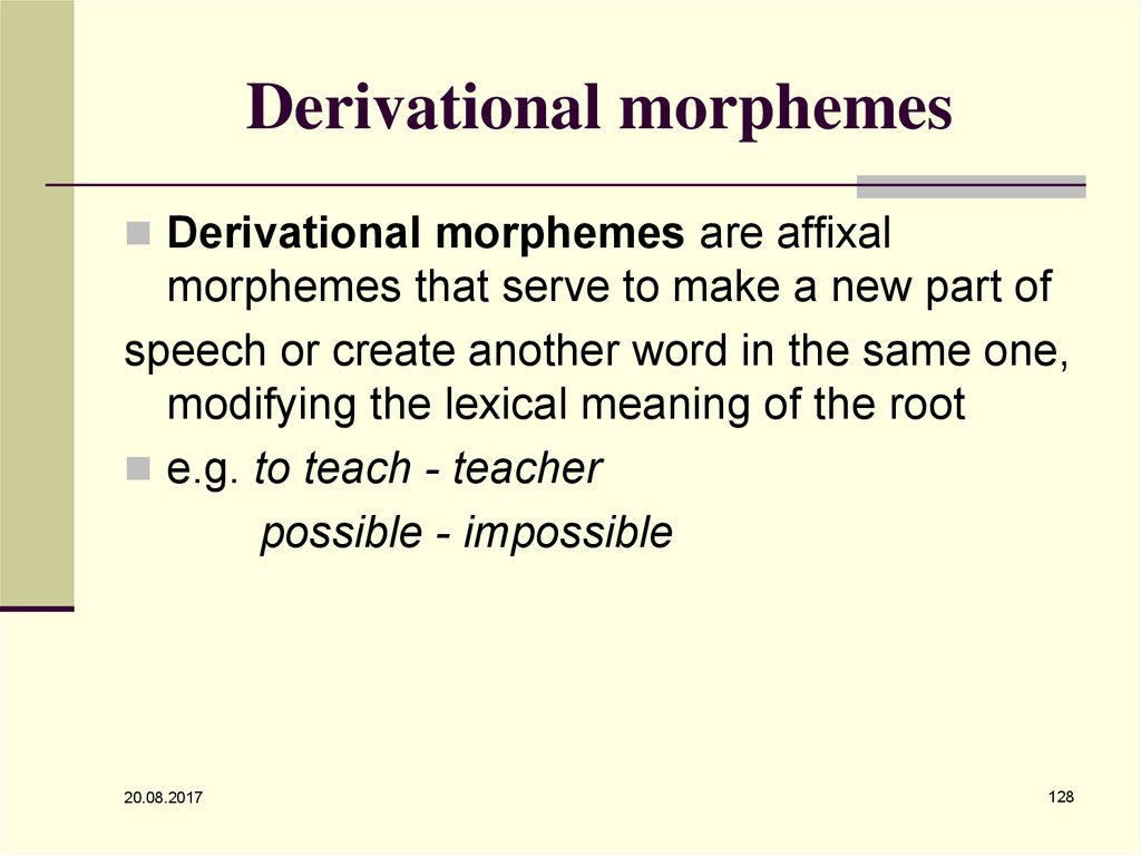 Derivational morphemes