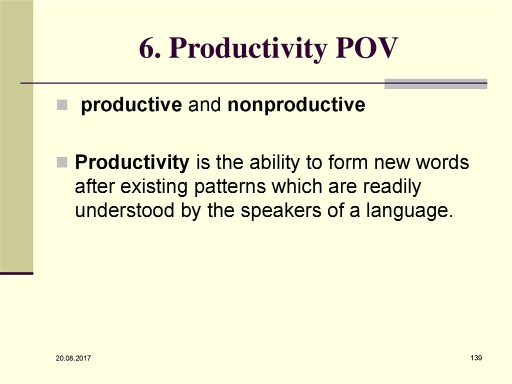6. Productivity POV