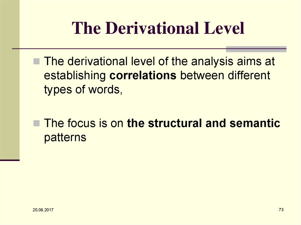 The Derivational Level