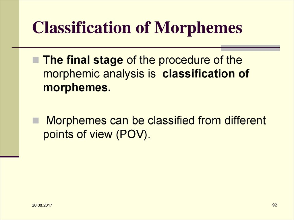 Classification of Morphemes