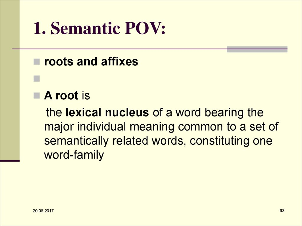 1. Semantic POV: