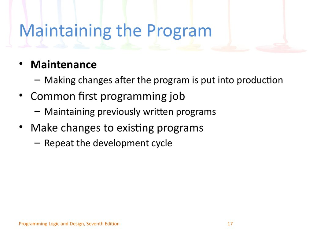 Maintaining the Program
