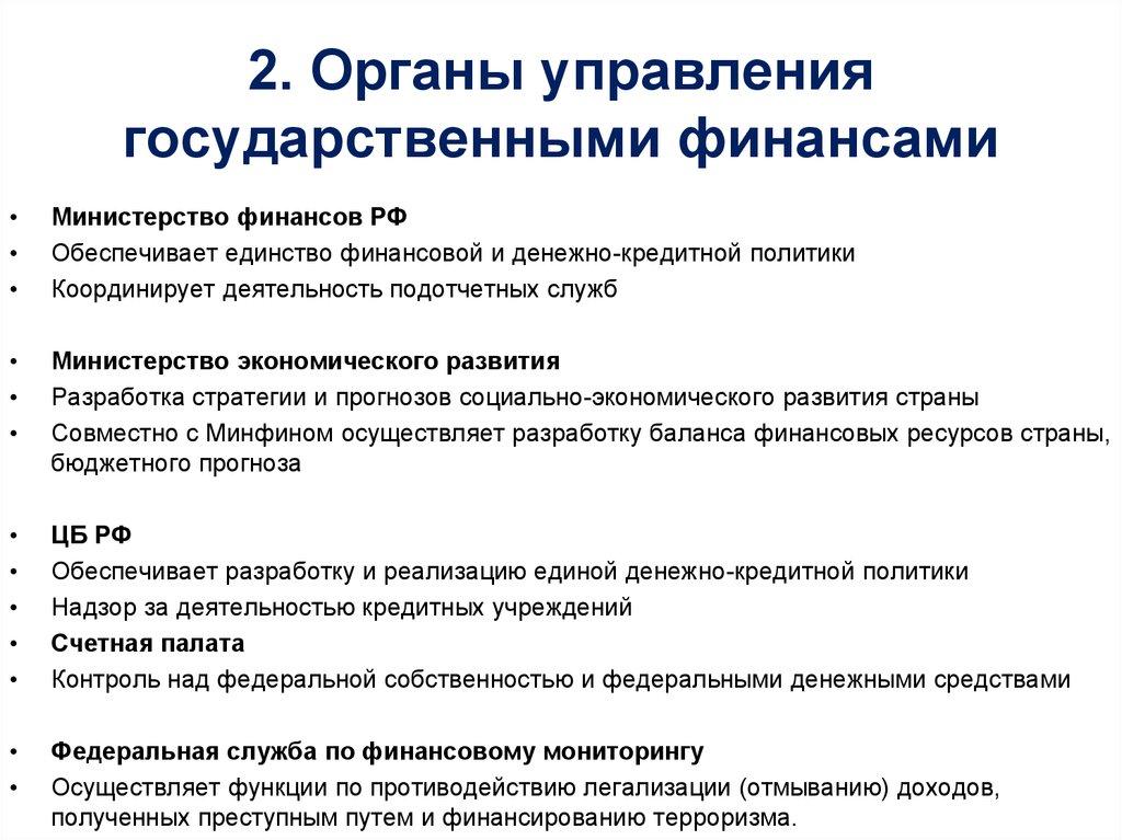 Органы Управления Финансами В Рф Шпаргалка