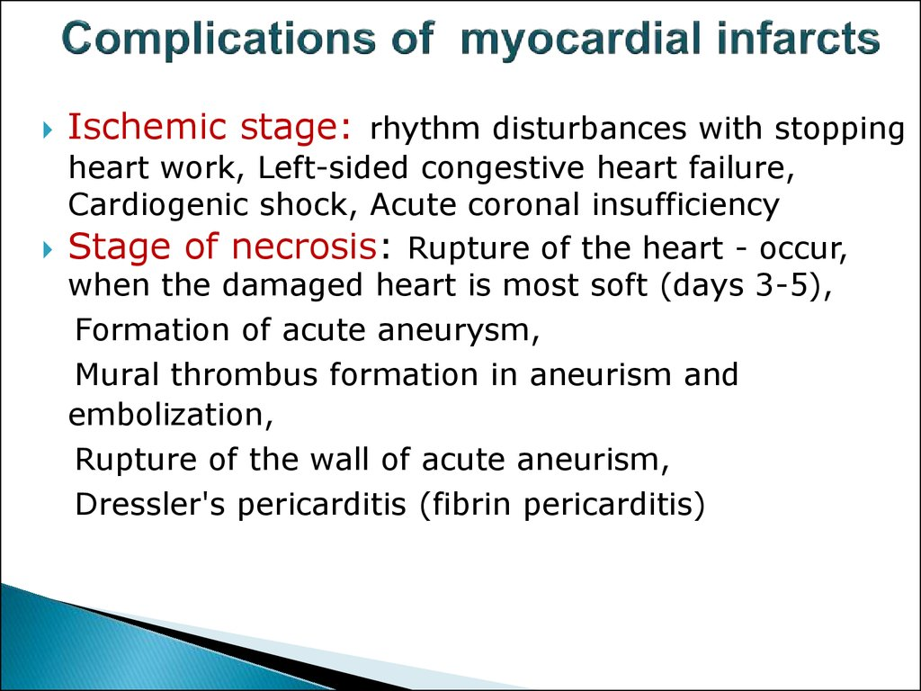 Complications of myocardial infarcts