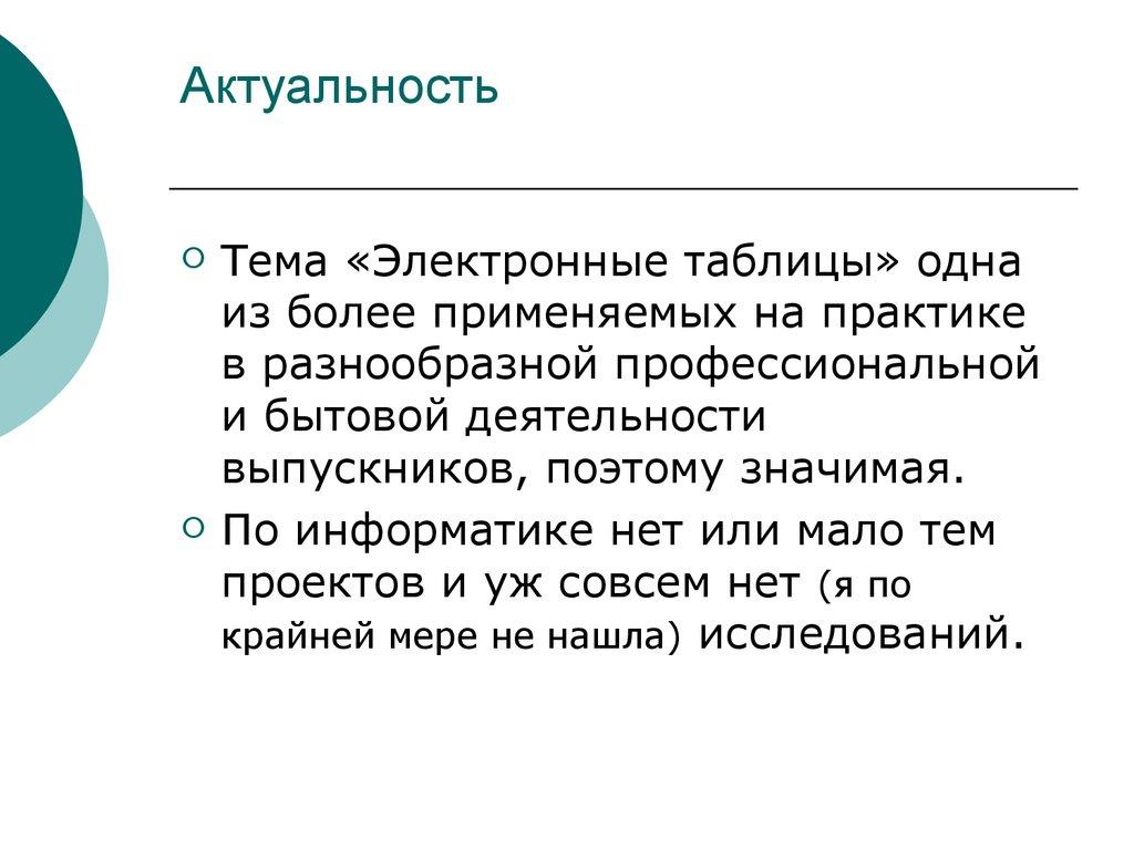 Презентация По Теме Электронные Таблицы
