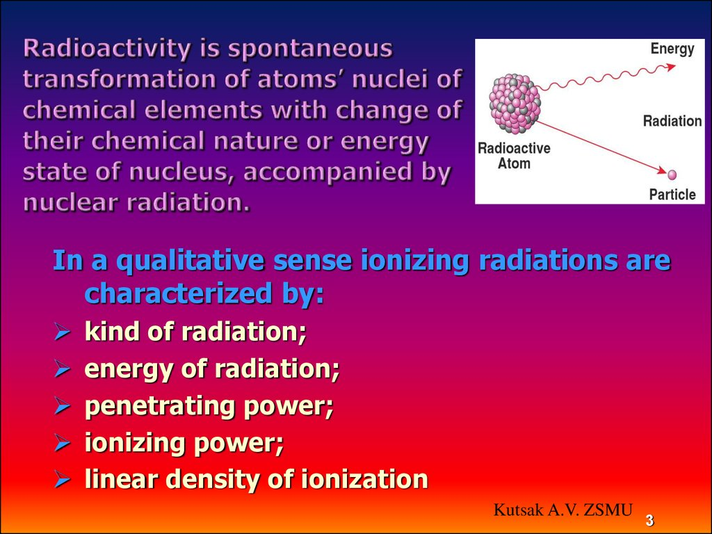 Radioactivity is spontaneous transformation of atoms' nuclei of chemical elements with change of their chemical nature or energy state of nucleus, accompanied by nuclear radiation.