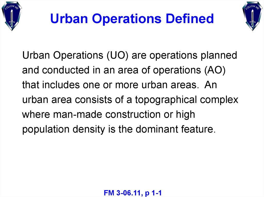 Urban Operations Defined