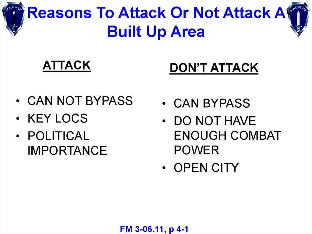 Reasons To Attack Or Not Attack A Built Up Area