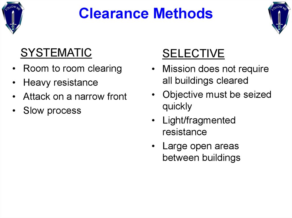 Clearance Methods