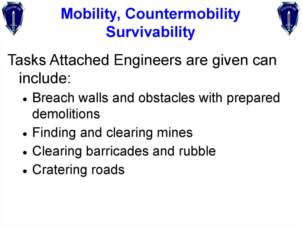 Mobility, Countermobility Survivability