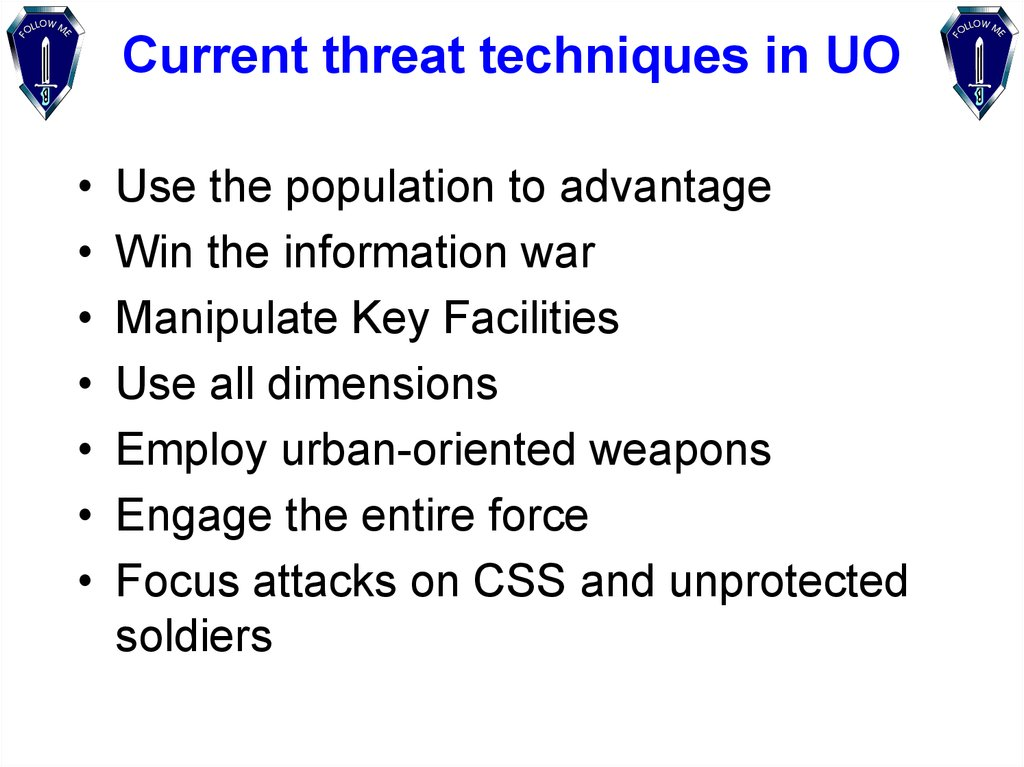 Current threat techniques in UO