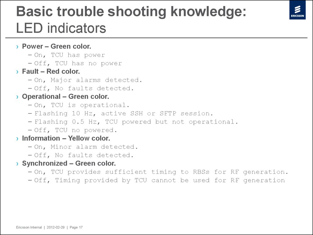 Basic trouble shooting knowledge: LED indicators