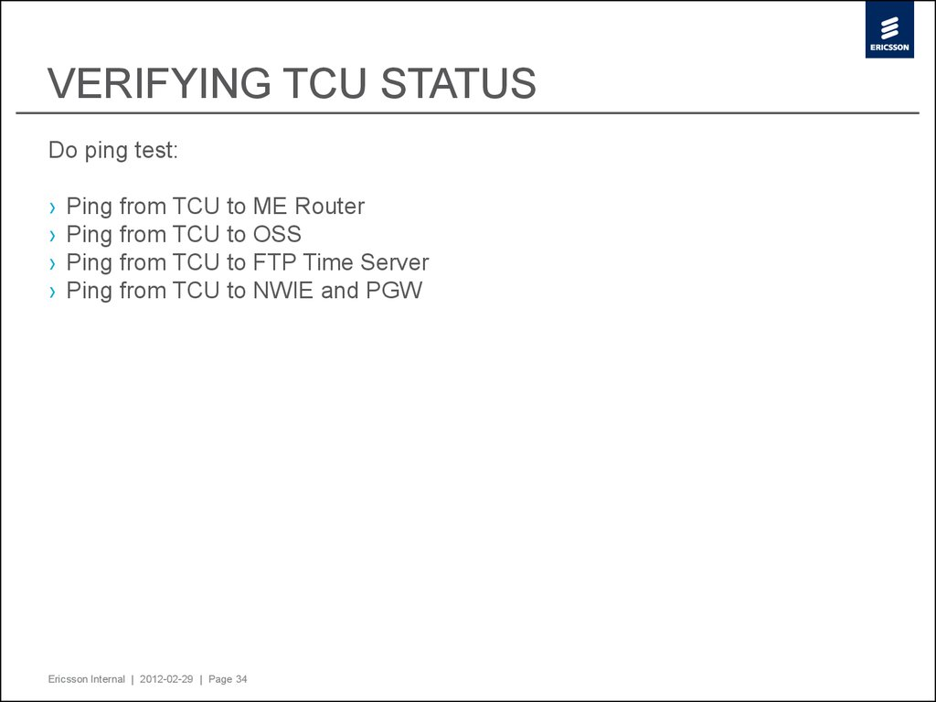 VERIFYING TCU STATUS