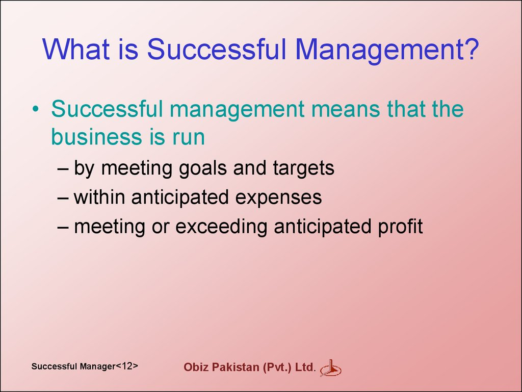 What is Successful Management?