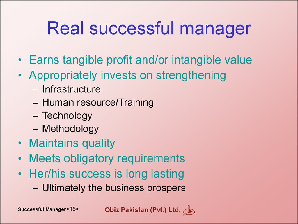 Real successful manager