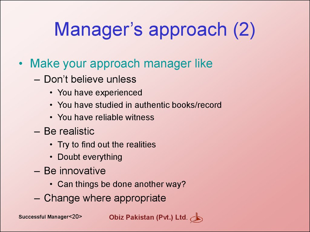 Manager's approach (2)