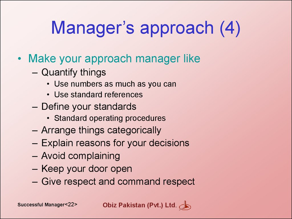 Manager's approach (4)
