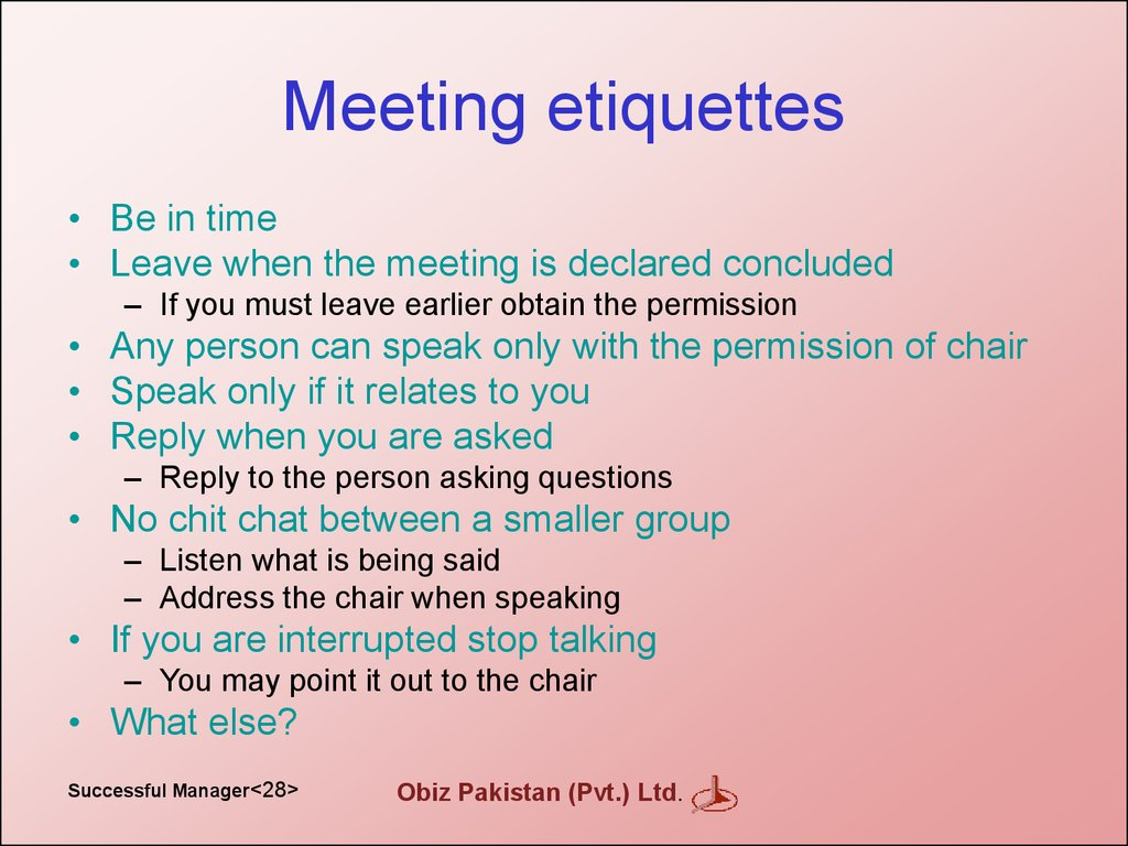 Meeting etiquettes