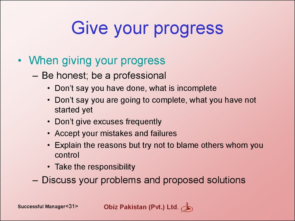 Give your progress