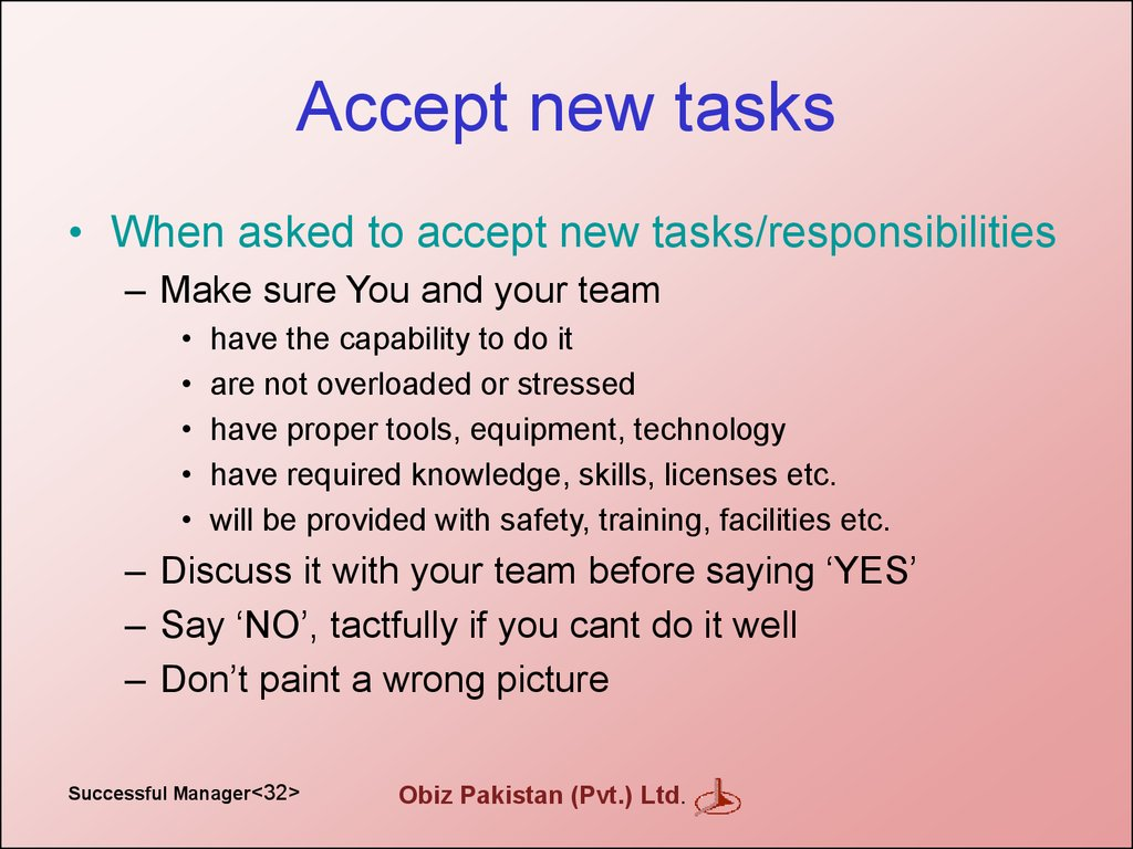 Accept new tasks